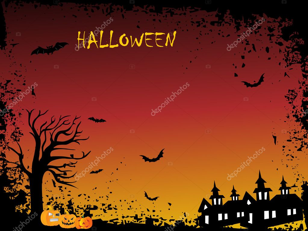 Abstract night background with dead tree, spider hanging on halloween — Stock Vector #1467872