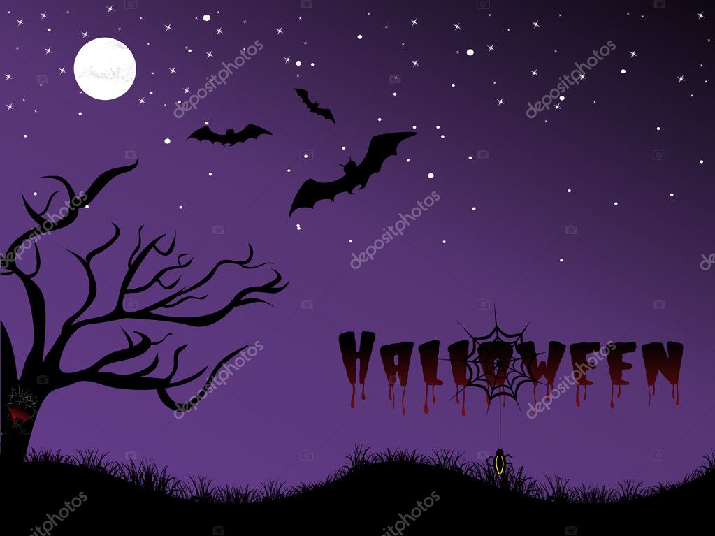 Abstract night background with dead tree, spider hanging on halloween — Stock Vector #1468032