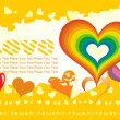 Stock Vector: Yellow background with rainbow heart