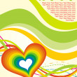 Valentine background with stripes, heart — Stock Vector