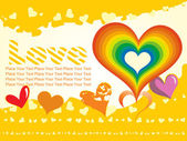 Yellow background with rainbow heart — Stock Vector
