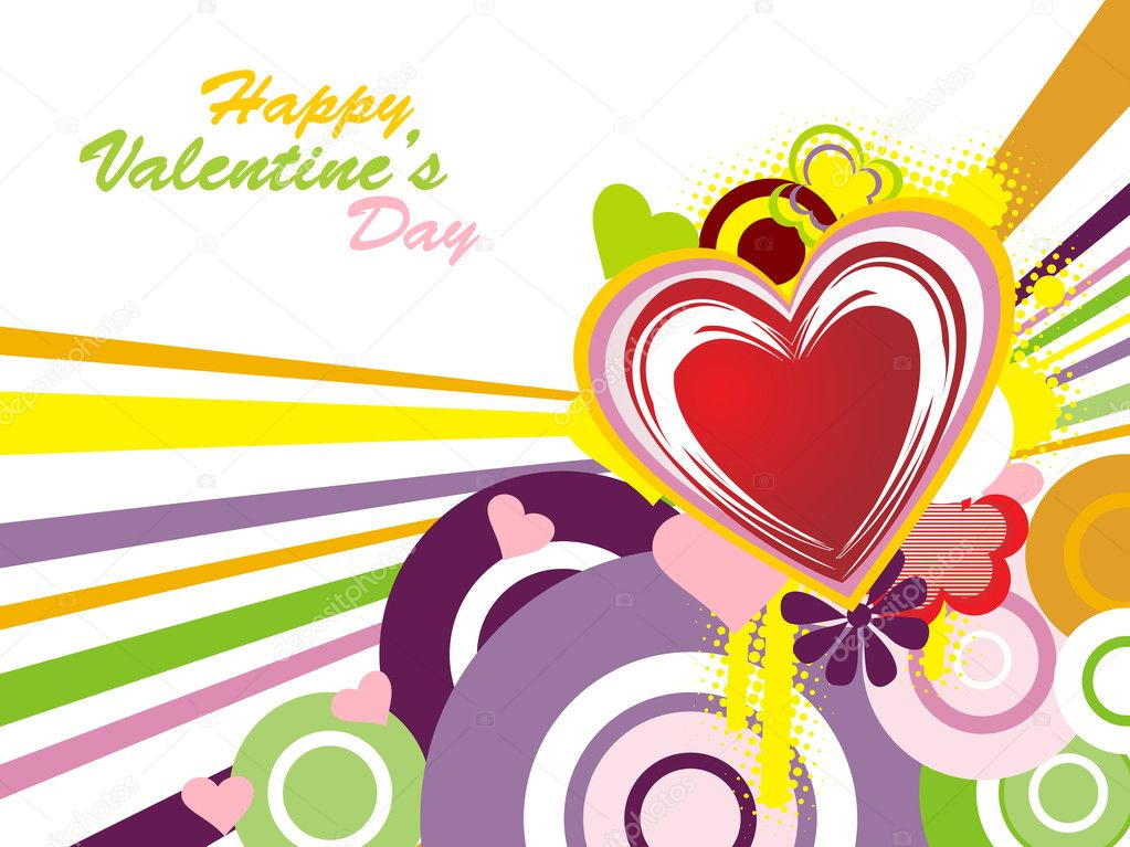 Abstract funky valentine day background with grungy heart — Stock Vector #1485876