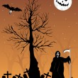Graveyard background with dead tree - Stock Vector