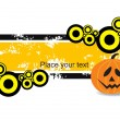 Grungy banner with pumpkin — Vector de stock