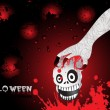 Hand holding skull with background — Stock Vector