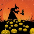 Background with witch, pumpkin - Stock Vector