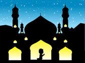 Un uomo musulmano in preghiera al suo dio — Vettoriale Stock