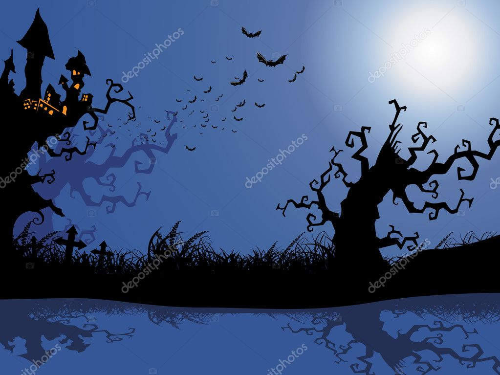 Wallpaper for halloween celebration, vector illustration  Stock Vector #1519802