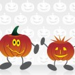 Set of cartoon pumpkin with background — Stock Vector