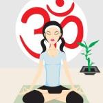 Human silhouette meditating over white — Stock Vector