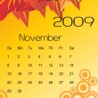 Vector, calendar for 2009 with leaf — Stockvektor