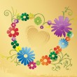 图库矢量图片: Valentines background with floral heart