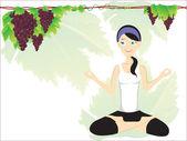 Girl doing yoga with background — Stockvector