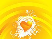 Yellow valentines heart-shape — Stock Vector