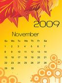 Vector, calendar for 2009 with leaf — Stock Vector