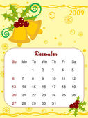 Vector, calendar for 2009 with xmas bell — Stockvector