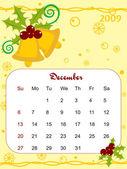 Vector, calendar for 2009 with xmas bell — Stock Vector