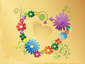 Valentines background with floral heart — Stock Vector