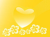 Yellow banner of heart floral theme — Stock Vector