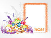 Año 2009 marco creativo design7 — Vector de stock