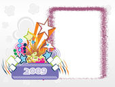 Año 2009 marco creativo design6 — Vector de stock