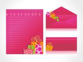 Xmas letter head and envelope in pink — Stock Vector