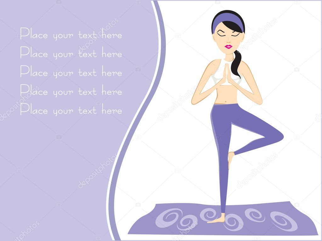 Abstract background with girl in yoga position   Stock Vector #1524801