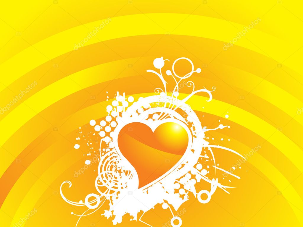 Yellow valentines heart-shape with grunge and floral elements illustration — Stock Vector #1525427