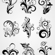 Graphic design element floral tattoos — Stock Vector