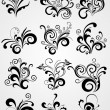 Stock Vector: Black element design tattoos with border
