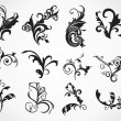 Abstract set of floral tattos — Image vectorielle