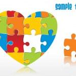 Abstract heartshape puzzle integration — Stock Vector