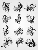 Collection of scroll pattern tattoos — Stock Vector