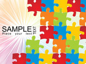 Puzzle vector with shiny rays background — Vector de stock