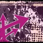 Purple arrowhead on texture background — Stock Vector