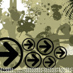 Grungy background with black arrowhead — Stock Vector
