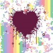Grungy heart with colorful artwork — Imagen vectorial