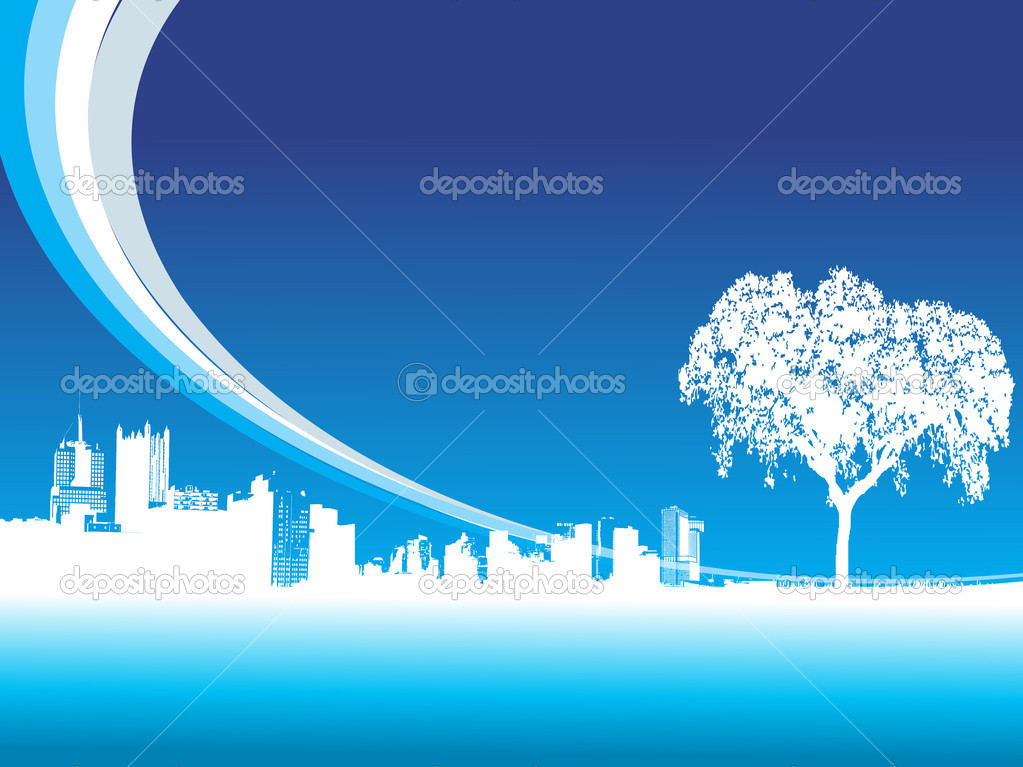 Abstract blue cityscape background with tree — Stock Vector #1608228