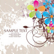 Vector de stock : Grungy background with colorful floral