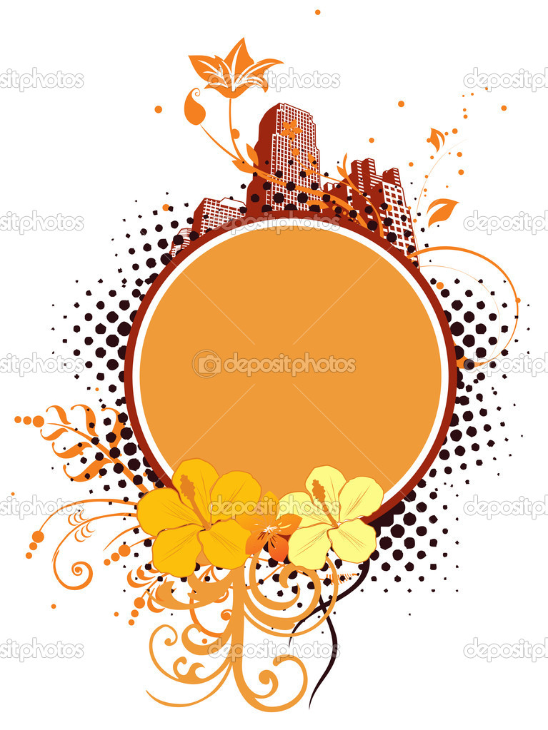 Beautiful floral pattern frame with retro building background — Stock Vector #1677504