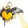 Royalty-Free Stock Vektorfiler: Grungy yellow heart shape