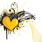 Grungy yellow heart shape — Stock Vector #1680783