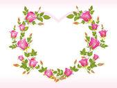 Romantic pink heart shape frame — Stock Vector