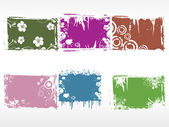 Set of grungy floral frames — Stock Vector