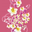 Pink background with flower bunch — Stockvectorbeeld