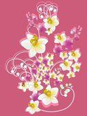 Sfondo rosa con mazzo di fiori — Vettoriale Stock