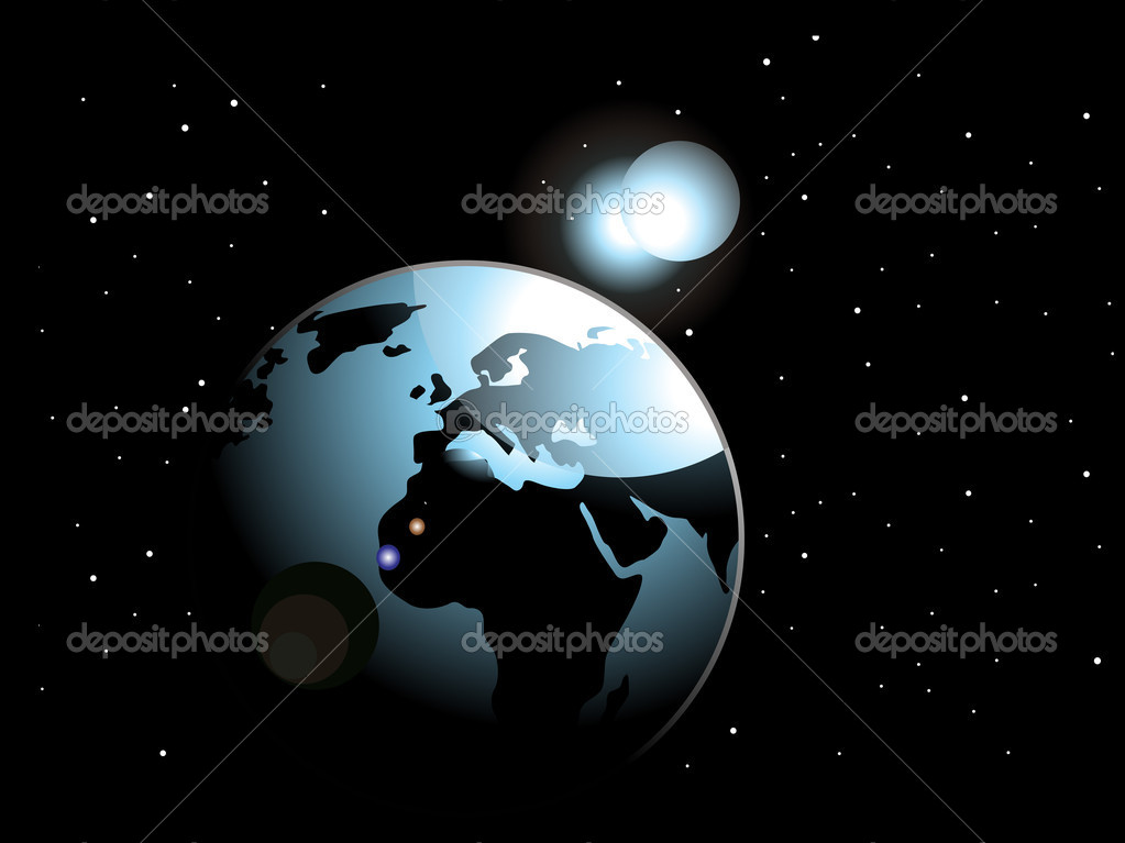 Abstract black background with space in earth  Stock Vector #1758358