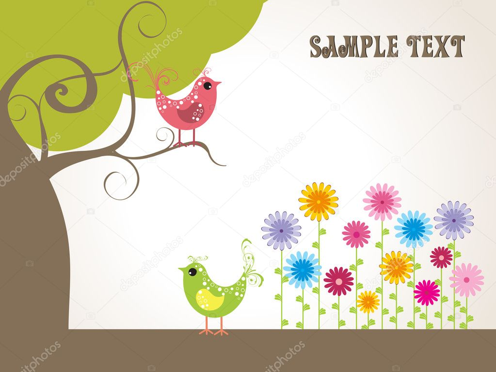 Garden background with bird sitting on tree  Stock Vector #1758390
