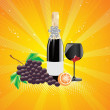Royalty-Free Stock Vectorielle: Background with fruit and wine glass