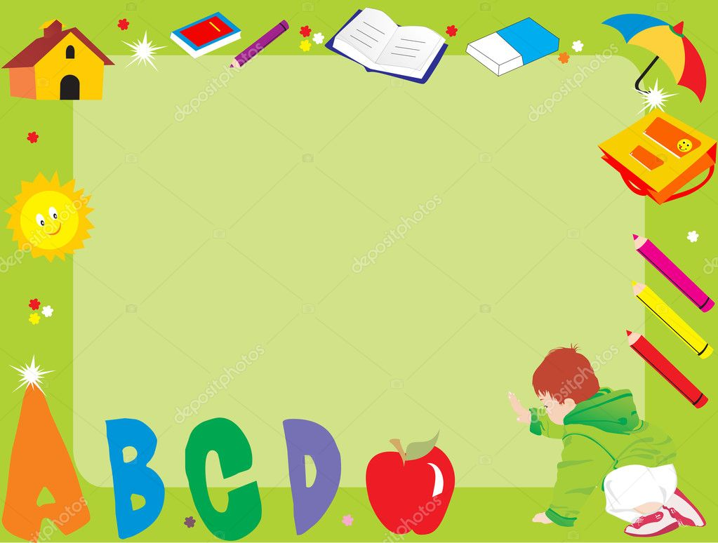 Abstract frame with kid, illustration - Stock Illustration